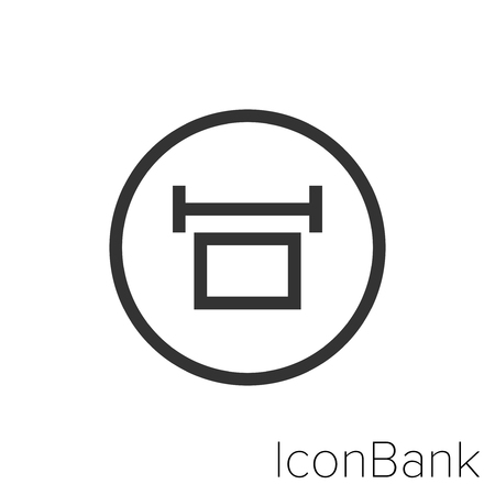 Icon Bank measure width in black and white Illustration.