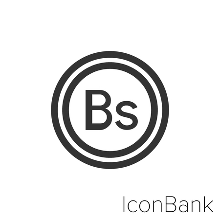 Icon Bank coin Bolivar in black and white Illustration.