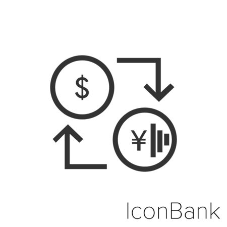 Icon Bank Exchange Dollar to Yen in black and white Illustration.
