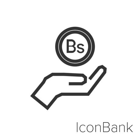 Icon Bank saving Bolivar in black and white Illustration. Ilustração