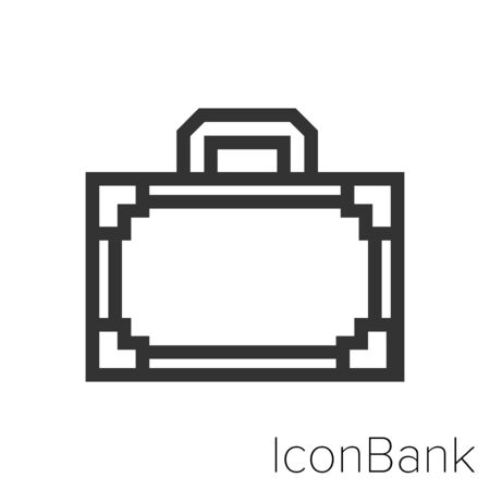 Icon old travel suitcase in black and white Illustration.