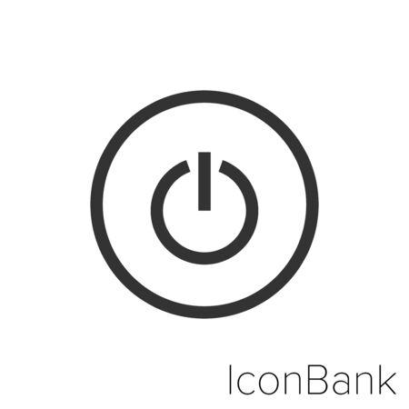 Icon power off in black and white Illustration. Ilustração