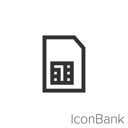 Icon SIM card icon in black and white Illustration.