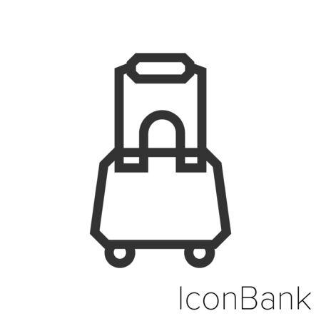 Icon simple travel suitcase in black and white Illustration. Ilustração