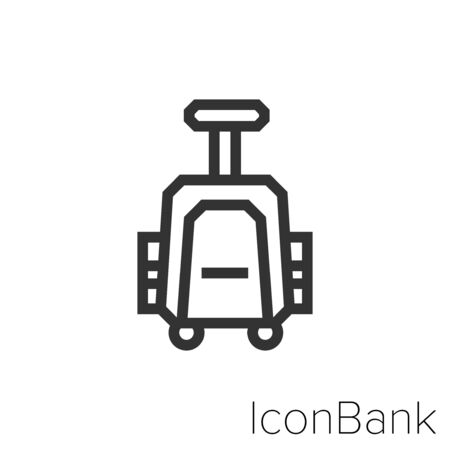 Icon small travel suitcase in black and white Illustration.