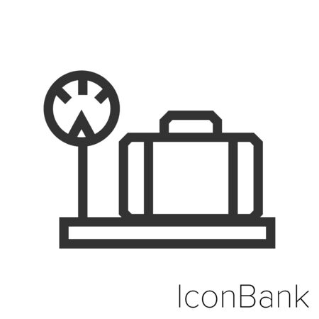 Icon suitcase weight in black and white Illustration. Ilustração