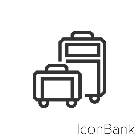 Icon Suitcases in black and white Illustration.