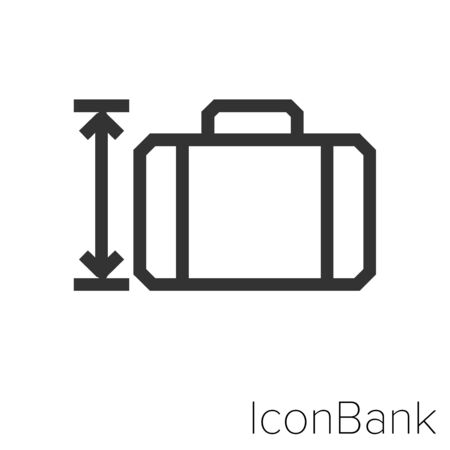 Icon tall suitcase in black and white Illustration.