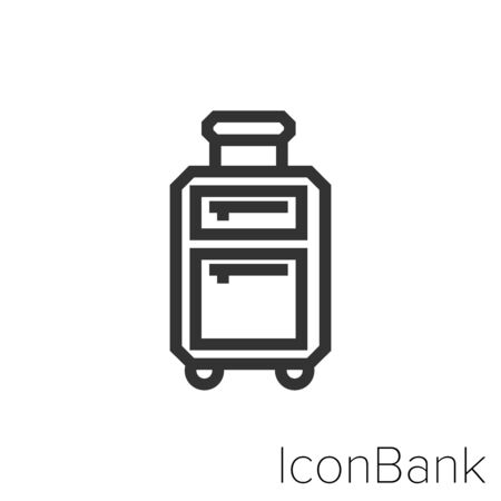 Icon travel suitcase with pockets in black and white Illustration.