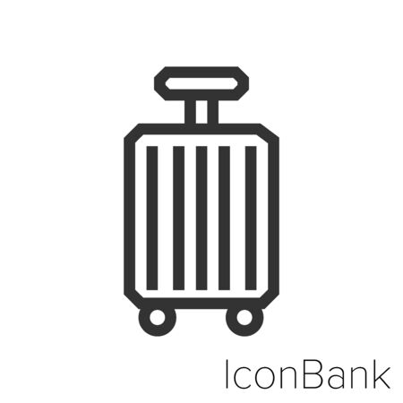 Icon Travel suitcases Icon in black and white Illustration.