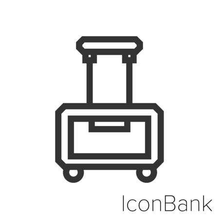 Icon short travel suitcase in black and white Illustration.