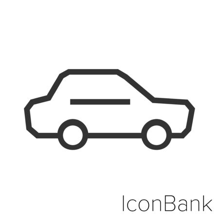 Icon Standard car in black and white Illustration.