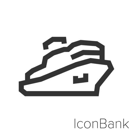 Icon cruise in black and white Illustration.