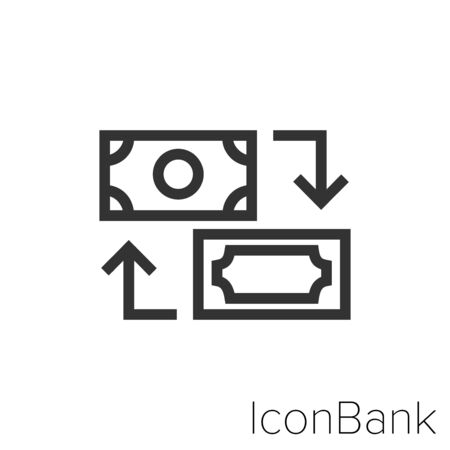 Icon Currency exchange icon in black and white Illustration.