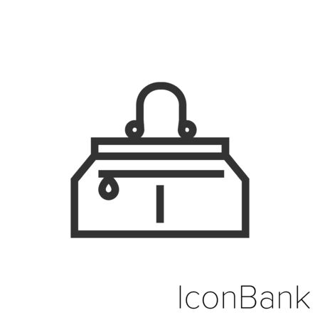 Icon Elegant handbag icon in black and white Illustration. Ilustração
