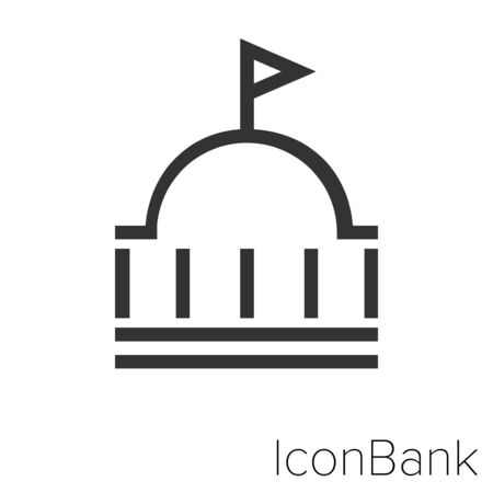 Icon embassy in black and white Illustration.