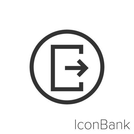 Icon exit in black and white Illustration. Ilustração