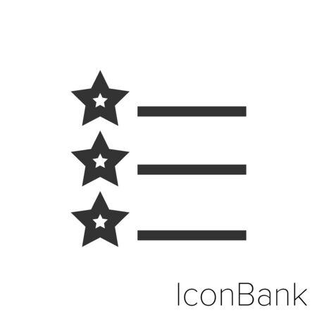 Icon Favorite list icon in black and white Illustration. Ilustração