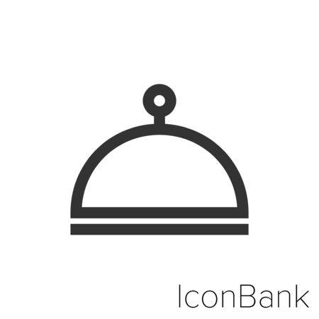 Icon Hotel bell icon in black and white Illustration.