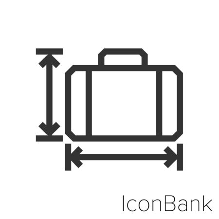 Icon long and tall suitcase in black and white Illustration. Ilustração