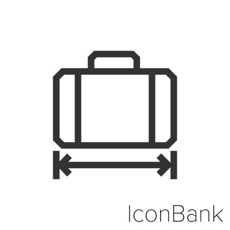 Icon long suitcase in black and white Illustration.