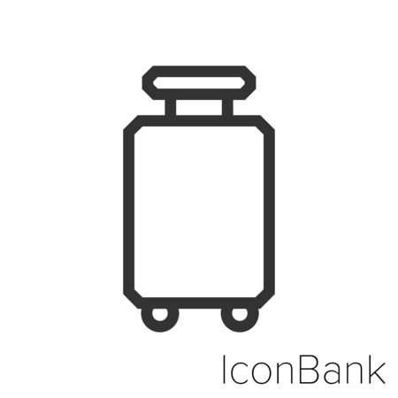 Icon long travel suitcases in black and white Illustration.