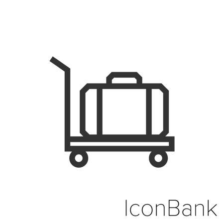 Icon luggage cart in black and white Illustration. Ilustração