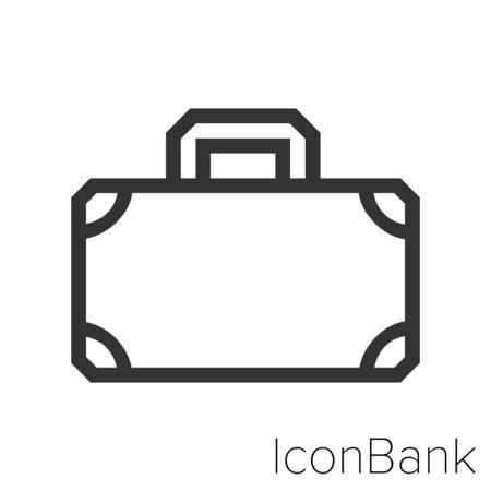 Icon old suitcase in black and white Illustration. Ilustração