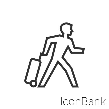 Icon traveling man in black and white Illustration.