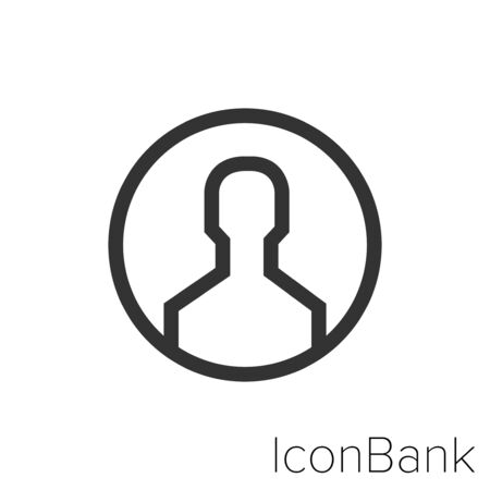 Icon User profile icon in black and white Illustration.
