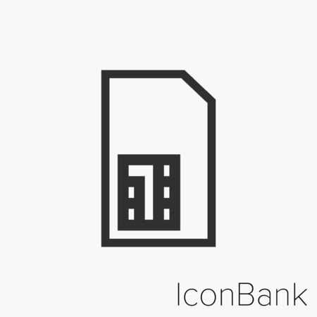 Icon Large SIM in black and white Illustration.
