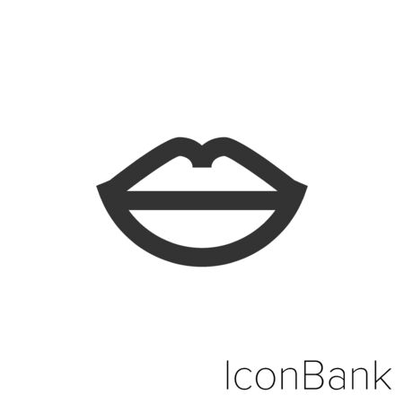 Icon lips in black and white Illustration.