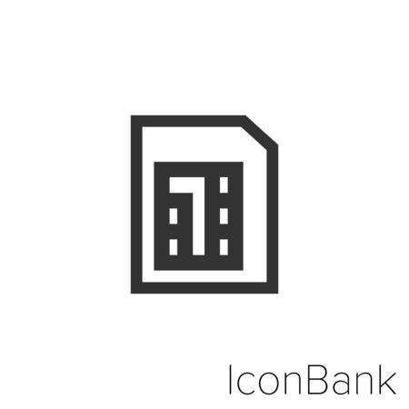 Icon Micro SIM in black and white Illustration.