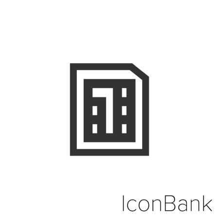 Icon Nano SIM in black and white Illustration. Ilustração
