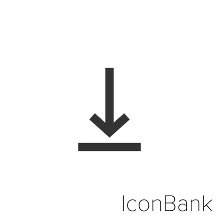 Icon download in black and white Illustration.