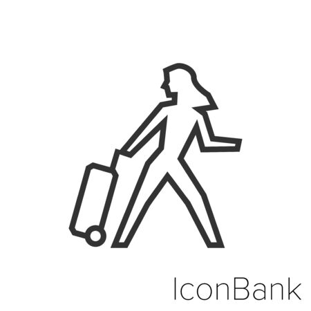 Icon Woman travel in black and white Illustration.