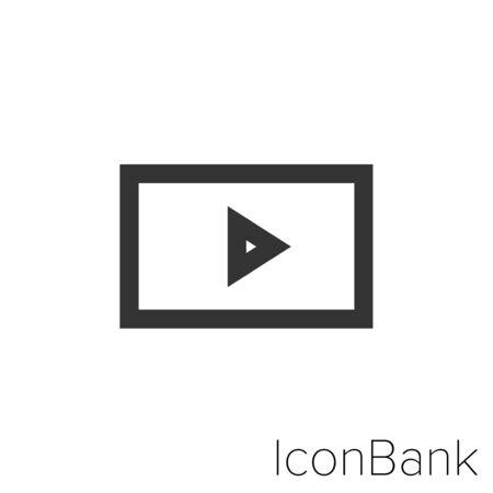Video Icon in black and white Illustration. Ilustração
