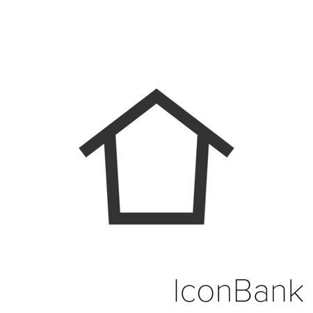 Home Icon in black and white Illustration. Ilustração