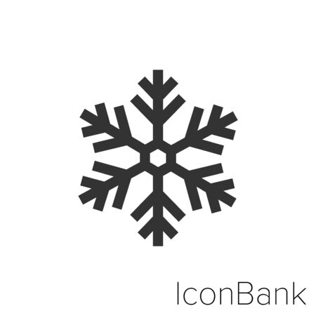 Snowflake Icon in black and white Illustration. Ilustração