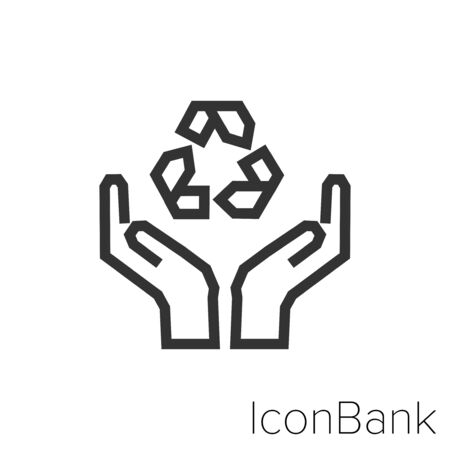 Ecological savings icon in black and white Illustration.
