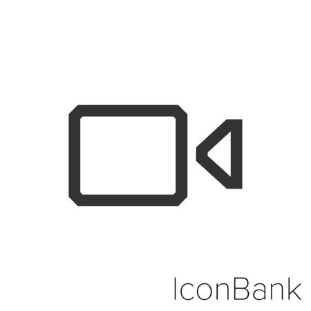 Video camera icon in black and white Illustration. Foto de archivo - 128606261