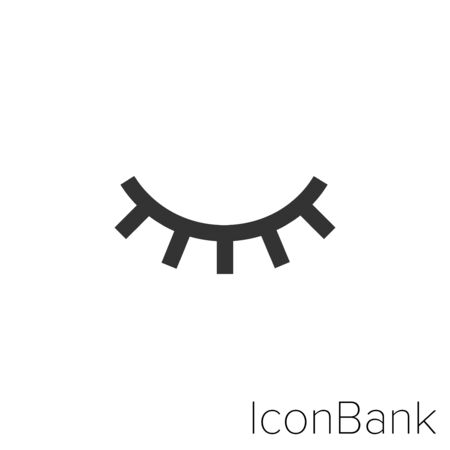 Icon closed eye in black and white Illustration.