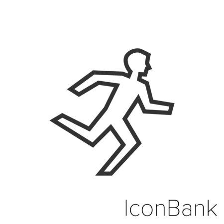 Icon emergency exit in black and white Illustration. Ilustração