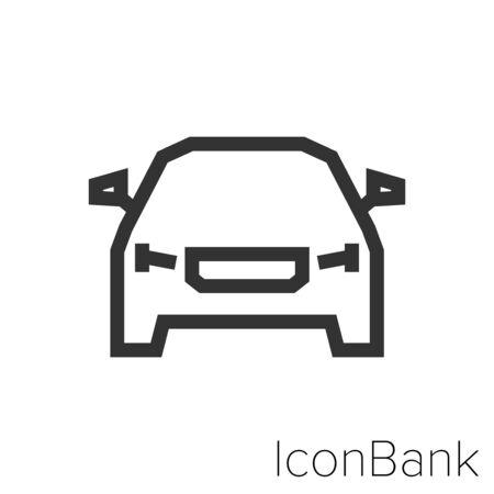 Icon front car in black and white Illustration. Ilustração