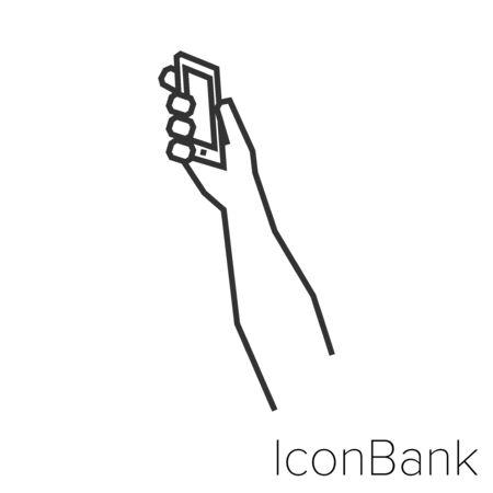 Icon grabbing smartphone in black and white Illustration. Ilustração