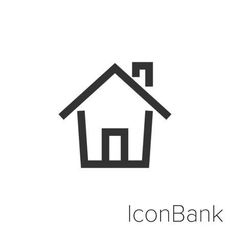 Icon home in black and white Illustration. Ilustração