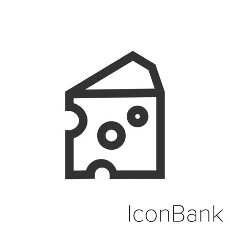Icon piece of cheese in black and white Illustration.