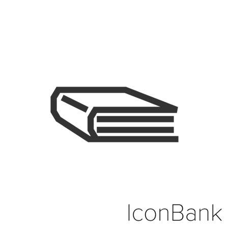 Icon book in black and white Illustration. Ilustração