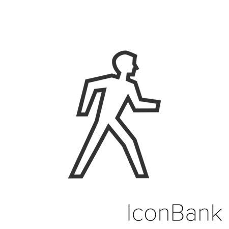 Icon man walking in black and white Illustration.