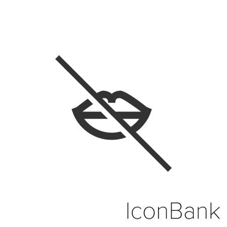 Icon not speak in black and white Illustration.